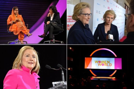 Clockwise from top left: A Young education activist from Pakistan speaks with Christiane Amanpour; Newsweek's Editor-in-Chief, Tina Brown, speak with the press; the Stage; Hilary Clinton during her powerful speech on Friday morning.